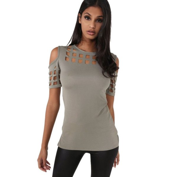 12629VITIANA-Womens-Short-Sleeve-T-shirt-Ladies-Fashion-Red-Pink-Black-Hollow-Out-Slim-Spring-Summer