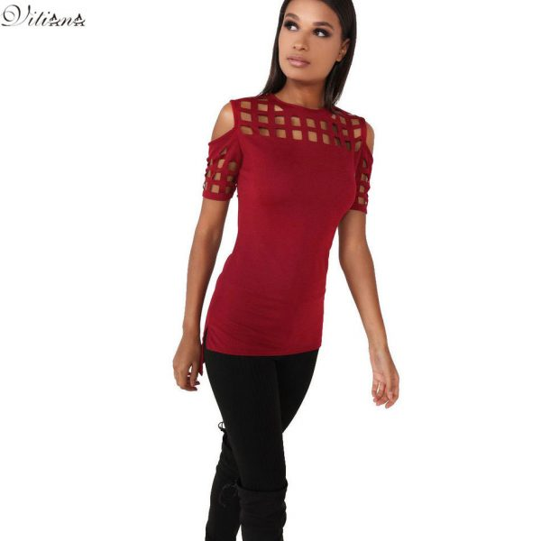3067478VITIANA-Womens-Short-Sleeve-T-shirt-Ladies-Fashion-Red-Pink-Black-Hollow-Out-Slim-Spring-Summer