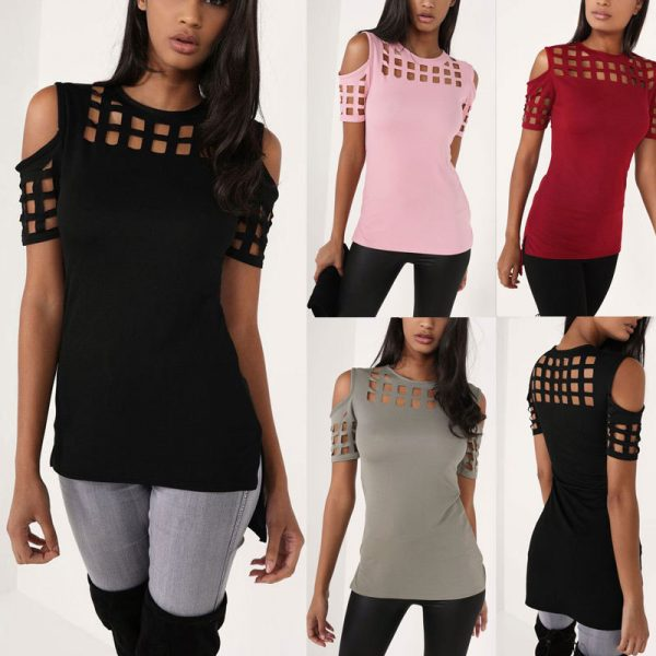 6387172VITIANA-Womens-Short-Sleeve-T-shirt-Ladies-Fashion-Red-Pink-Black-Hollow-Out-Slim-Spring-Summer