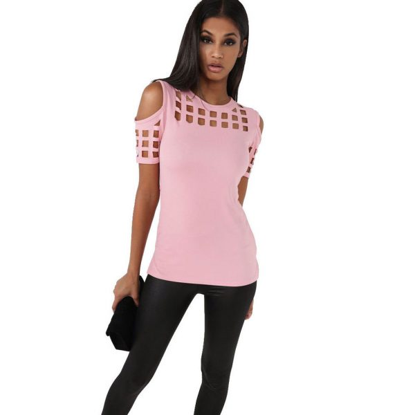 9625715VITIANA-Womens-Short-Sleeve-T-shirt-Ladies-Fashion-Red-Pink-Black-Hollow-Out-Slim-Spring-Summer